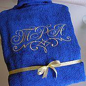 Одежда ручной работы. Ярмарка Мастеров - ручная работа Синий махровый халат с вышивкой монограммы 15177. Handmade.