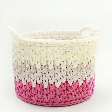 Для дома и интерьера ручной работы. Ярмарка Мастеров - ручная работа Интерьерная круглая корзина для декора детской. Handmade.