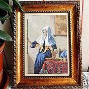 Картины и панно ручной работы. Ярмарка Мастеров - ручная работа Девушка с кувшином, картина для интерьера дома, Вермеер, историческая. Handmade.