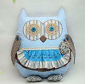 Подушки ручной работы. Ярмарка Мастеров - ручная работа Сова игрушка подушка ,голубой,коричневый,текстиль,вышивка,синий. Handmade.