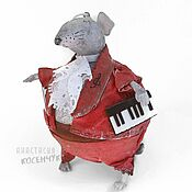 Для дома и интерьера handmade. Livemaster - original item Toy interior Mouse, Christmas tree toy for Christmas tree Musician. papier-mache. Handmade.