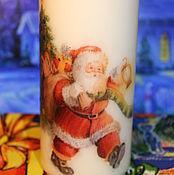 Свечи ручной работы. Ярмарка Мастеров - ручная работа Свеча новогодняя 2 вида Дед Мороз с мешком подарков. Handmade.