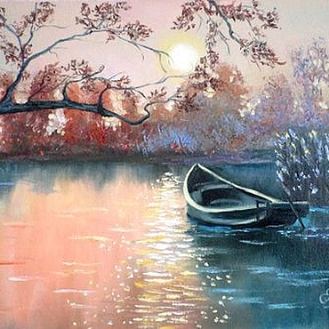 Картины и панно ручной работы. Ярмарка Мастеров - ручная работа Картина маслом Лодка картина с  лодкой закат осень река. Handmade.
