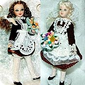 Куклы и пупсы ручной работы. Ярмарка Мастеров - ручная работа Школьницы: блондинка и брюнетка - в подарок любимым. Handmade.