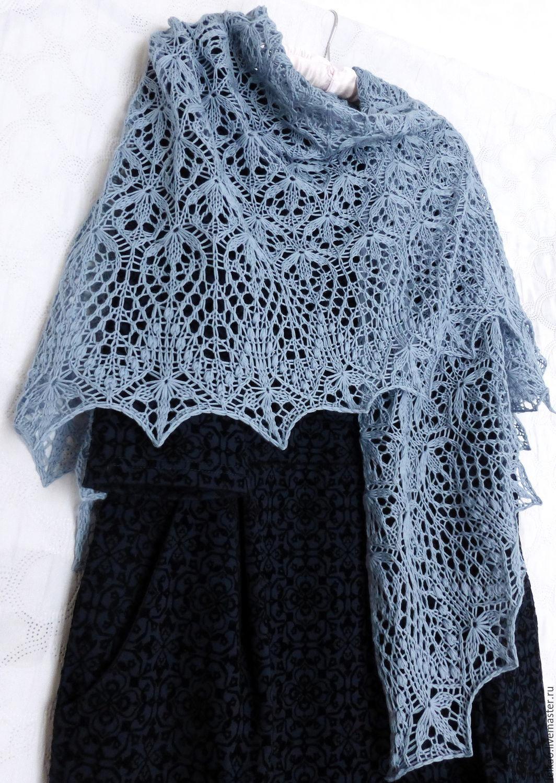 shawl, openwork shawl, knitting shawl, knitted shawl, wool shawl, shawl shawl, shawl handmade, thin shawl, wool shawl, easy shawl, fall 2017, gray-blue, shawl as a gift, Merino shawl