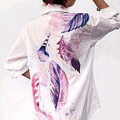 Рубашки ручной работы. Ярмарка Мастеров - ручная работа Белая рубашка с ручной росписью. Handmade.