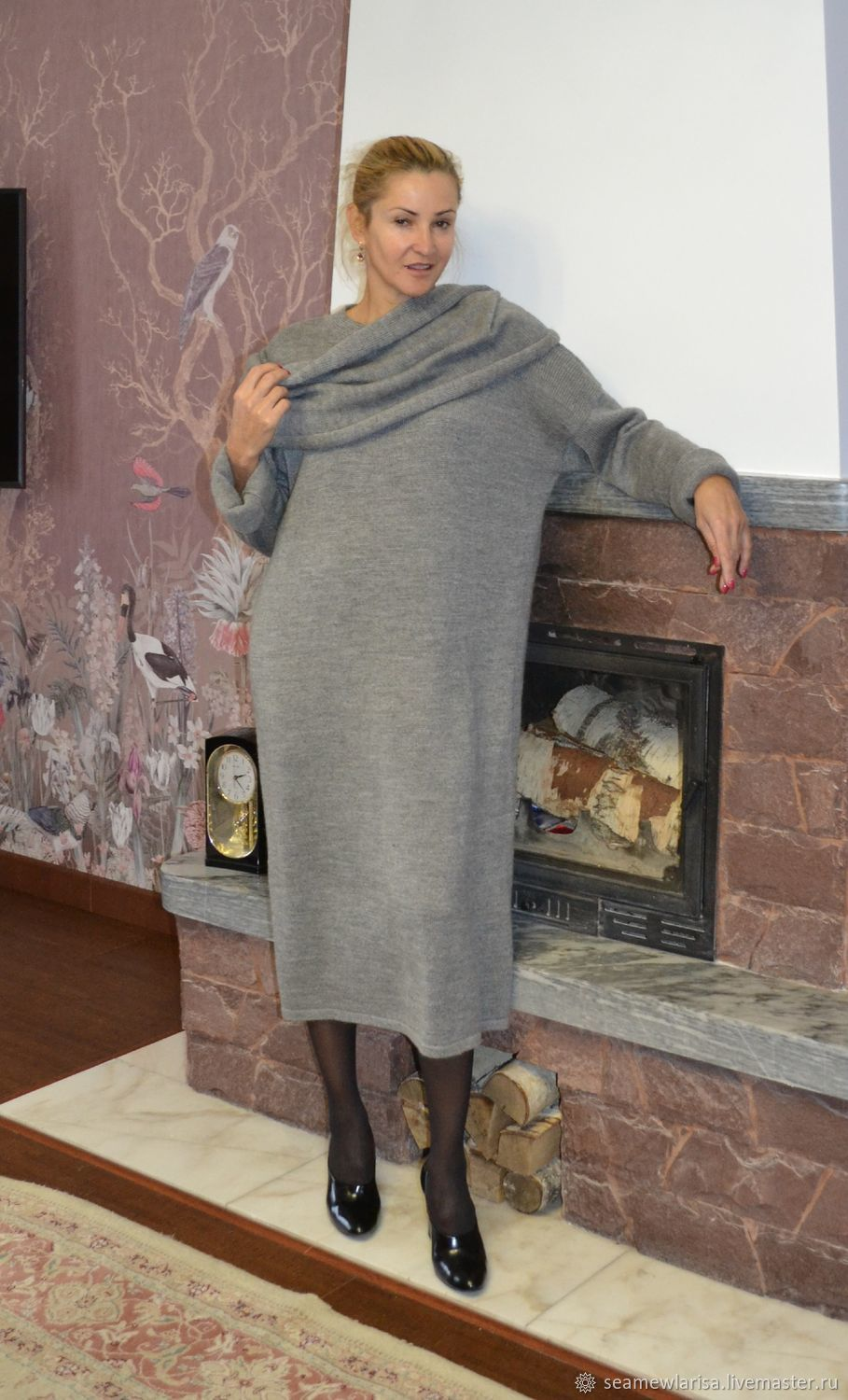 Sweater dress in grey melange with accessories, Dresses, Sarapul,  Фото №1