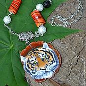 """Украшения ручной работы. Ярмарка Мастеров - ручная работа Кулон из агата """"Пламенный тигр"""". Handmade."""
