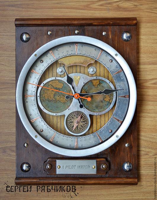 Часы для дома ручной работы. Ярмарка Мастеров - ручная работа. Купить Настенные декоративные «Лоцманские часы», (Морская серия).. Handmade.