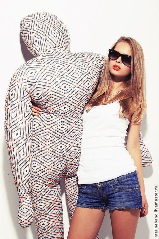 Текстиль, ковры ручной работы. Ярмарка Мастеров - ручная работа. Купить Мягкая подушка Человек-пуф. Handmade. Подушка-игрушка