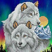 Материалы для творчества ручной работы. Ярмарка Мастеров - ручная работа Пара волков. Рисунок на ткани для вышивки бисером. Handmade.
