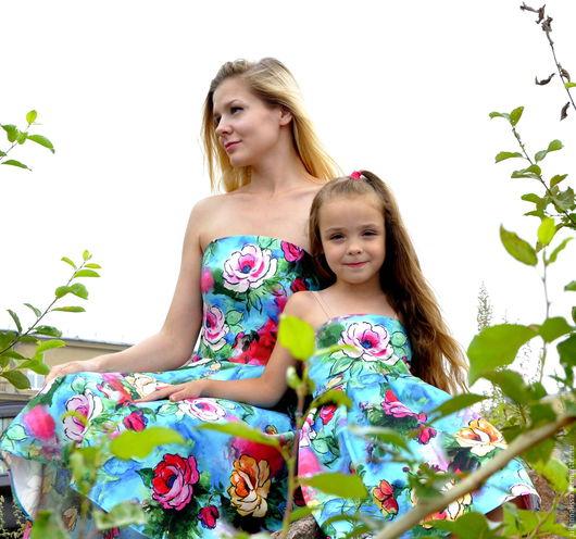 Платья ручной работы. Ярмарка Мастеров - ручная работа. Купить Платья для мамы и дочки в стиле family look. Handmade. Комбинированный