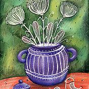 """Картины ручной работы. Ярмарка Мастеров - ручная работа Акварель """"Белое в фиолетовом"""". Handmade."""