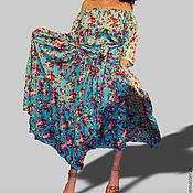 """Одежда ручной работы. Ярмарка Мастеров - ручная работа СКИДКА 50%! платье длинное в пол летнее """"Голубое с цветами"""" бохо. Handmade."""
