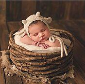 Аксессуары для фотосессии ручной работы. Ярмарка Мастеров - ручная работа Шапочка для фотосессии новорожденных Барашек белый. Handmade.