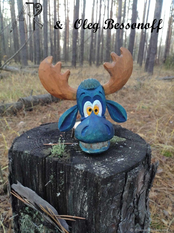 Елочная игрушка из дерева резная фигурка миниатюра Веселый лось, Елочные игрушки, Рязань,  Фото №1