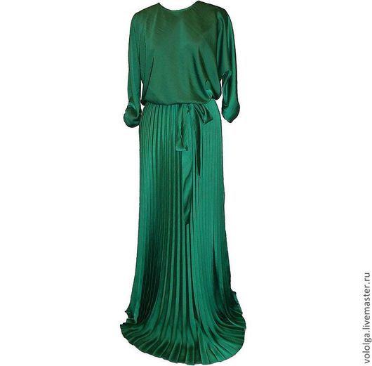 Платья ручной работы. Ярмарка Мастеров - ручная работа. Купить Изумрудное платье (размер 50+). Handmade. Тёмно-зелёный, большой размер