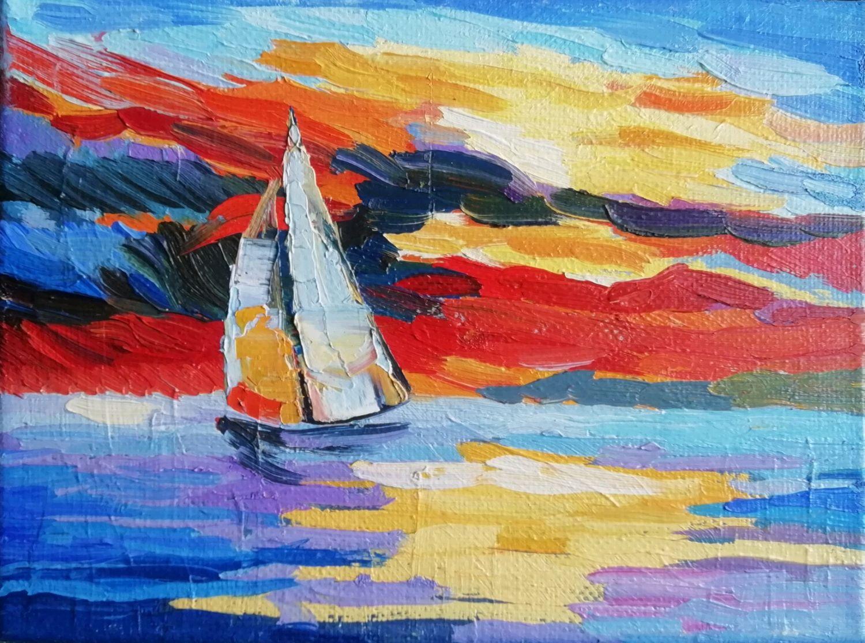 Парусник на закате. Картина масло, холст. Море, Картины, Москва, Фото №1