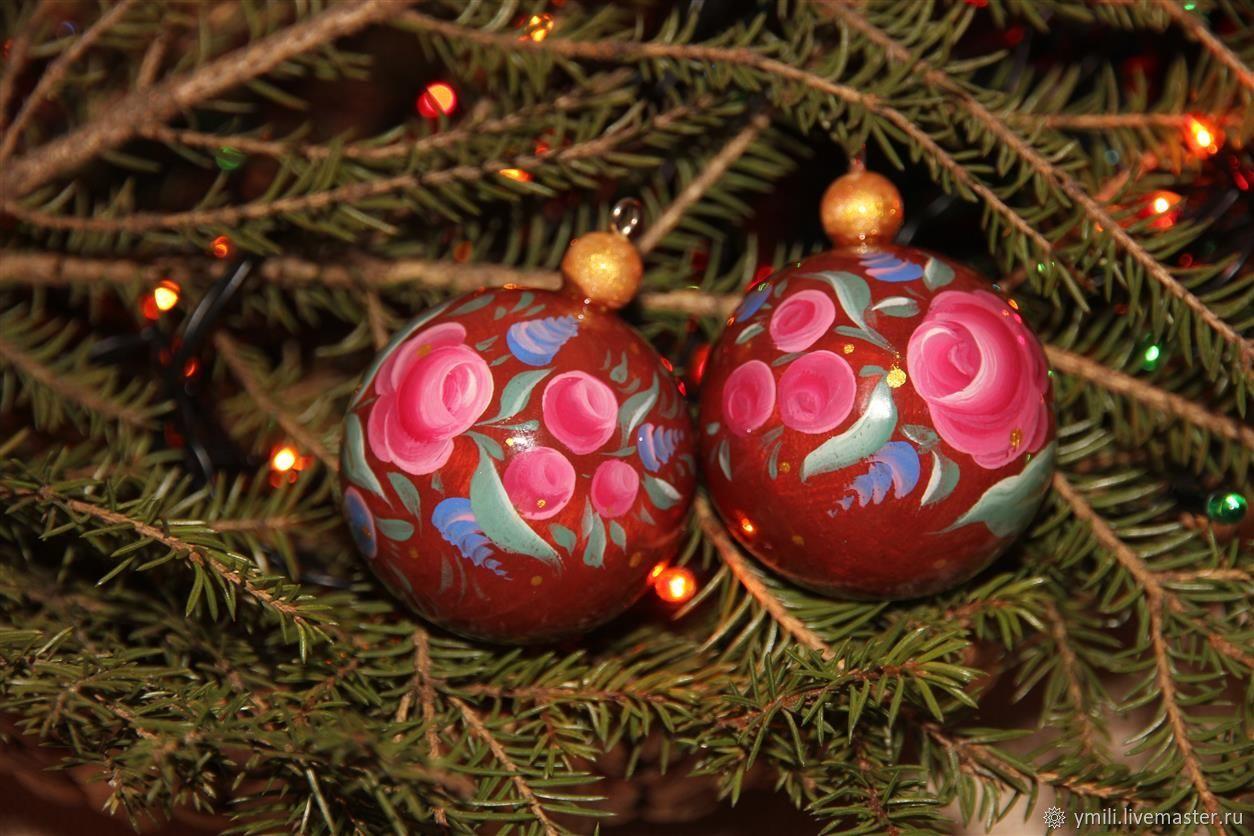 Елочный шар из дерева авторская роспись в русском стиле, Народные сувениры, Советский,  Фото №1