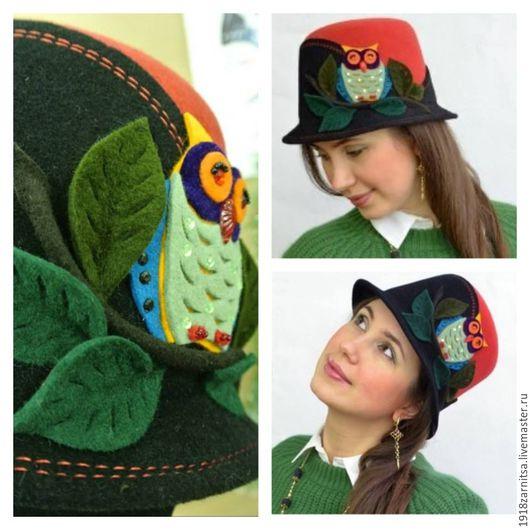 """Шапки ручной работы. Ярмарка Мастеров - ручная работа. Купить Велюровая - фетровая шляпка """"Сова"""". Handmade. Комбинированный, головные уборы"""