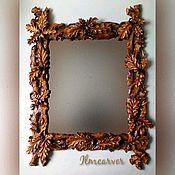 Зеркала ручной работы. Ярмарка Мастеров - ручная работа Зеркало в деревянной резной раме Дубки 80х60 см. Handmade.
