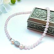 Украшения handmade. Livemaster - original item Rose Quartz choker necklace with pearls. Handmade.