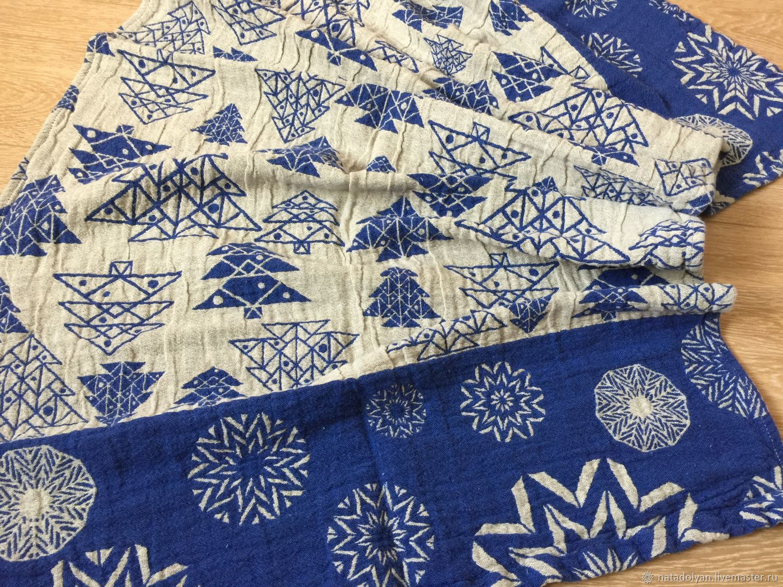 Towel washed linen ' Christmas Tree blue', Towels, Ivanovo,  Фото №1