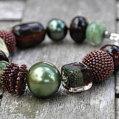 Украшения handmade. Livemaster - original item Bracelet with lampwork and pearls Majorica Magic forest. Handmade.
