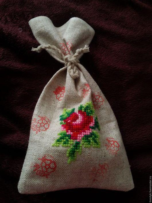 Персональные подарки ручной работы. Ярмарка Мастеров - ручная работа. Купить Подарочный мешочек с вышивкой. Handmade. Бежевый, Вышивка крестом
