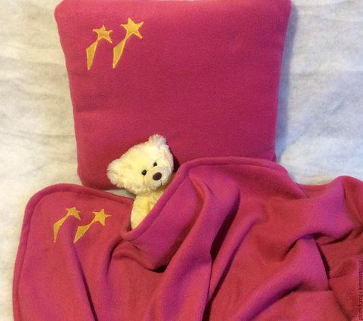 Текстиль, ковры ручной работы. Ярмарка Мастеров - ручная работа. Купить Плед малый и подушка из флиса розового цвета Розовый сон. Handmade.