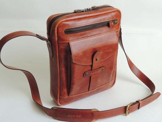 Мужские сумки ручной работы. Ярмарка Мастеров - ручная работа. Купить Сумка мужская. Handmade. Рыжий, стиль винтаж