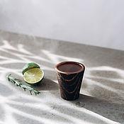 Посуда handmade. Livemaster - original item Textured shot glass (stack) made of Siberian pine R10. Handmade.