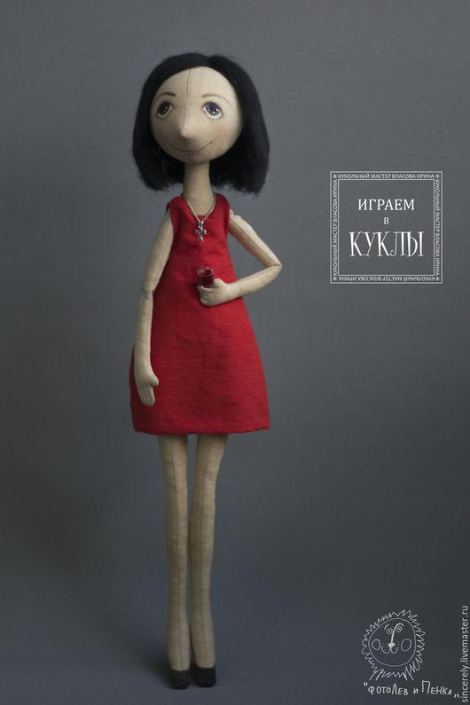Портретные куклы ручной работы. Ярмарка Мастеров - ручная работа. Купить Lady in red. Handmade. Ярко-красный