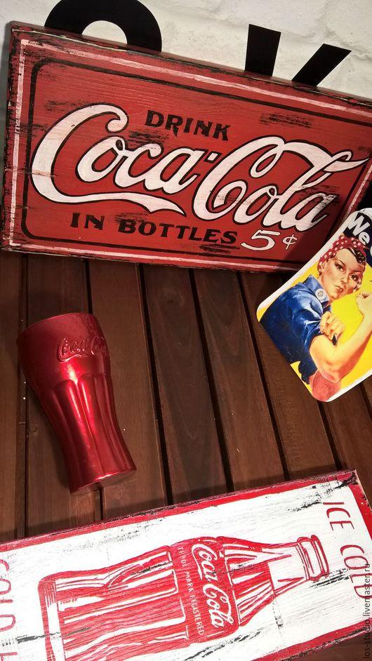 Рекламные вывески ручной работы. Ярмарка Мастеров - ручная работа. Купить Панно Coca-Cola ретро. Handmade. Ярко-красный