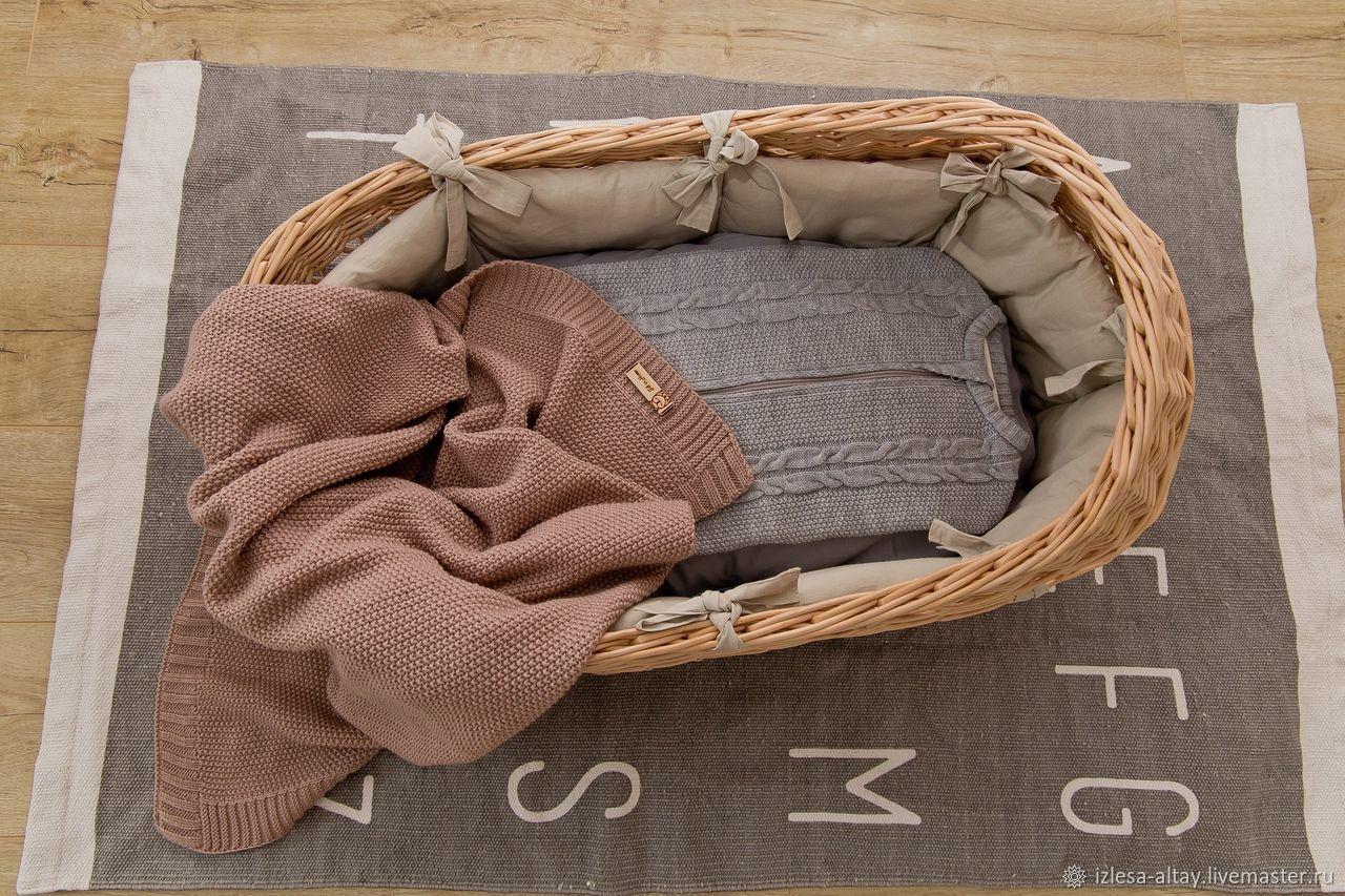 Детская ручной работы. Ярмарка Мастеров - ручная работа. Купить Бортики в плетеную люльку. Handmade. Текстиль для детской, люлька переноска