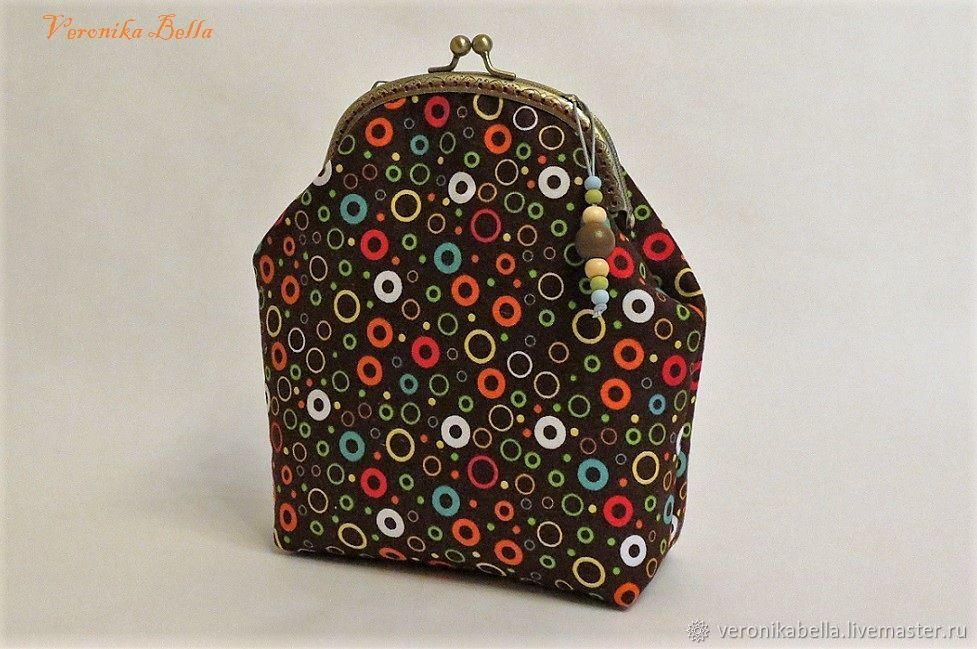 Cosmetic bag with clasp 'Merry circles', Wallets, Polyarnye Zori,  Фото №1