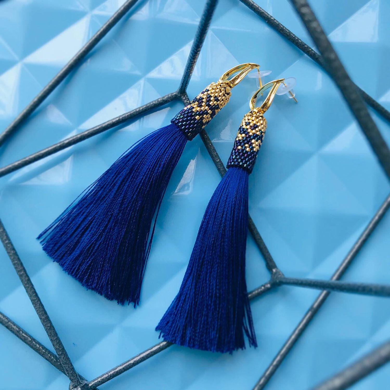 Earrings-brush 'Blue», Tassel earrings, Moscow,  Фото №1