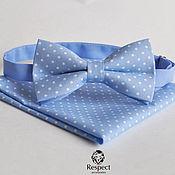 Аксессуары handmade. Livemaster - original item Blue tie dot pocket square Blue lagoon. Handmade.