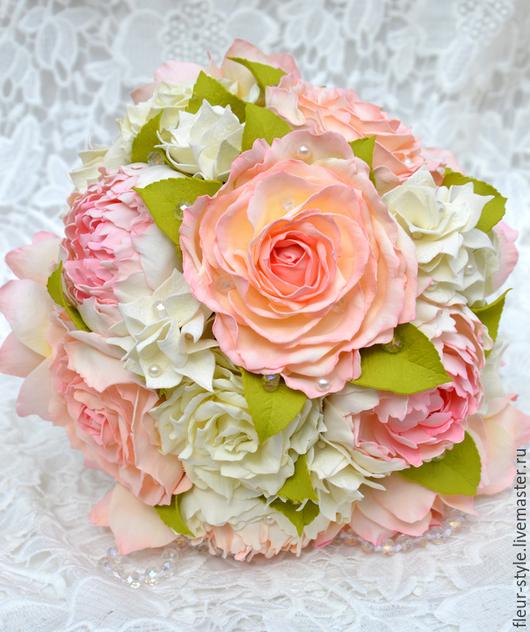 """Свадебные цветы ручной работы. Ярмарка Мастеров - ручная работа. Купить Свадебный букет """"Винтаж"""". Handmade. Бежевый, пионы, для девушки"""