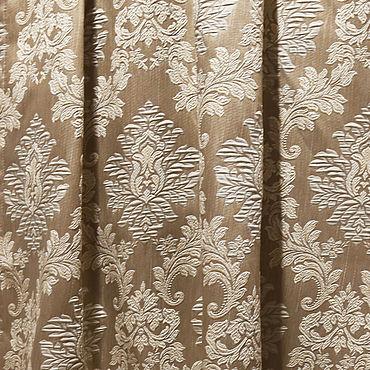Текстиль ручной работы. Ярмарка Мастеров - ручная работа Бежевый жаккард с рисунком дамаск.Отрезы ткани для штор. Handmade.