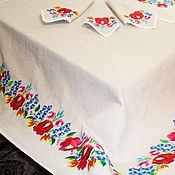 Для дома и интерьера handmade. Livemaster - original item Tablecloth rectangular Linen table cloth table Cloth with embroidery. Handmade.