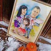 Подарки ручной работы. Ярмарка Мастеров - ручная работа Семейный шарж. Handmade.