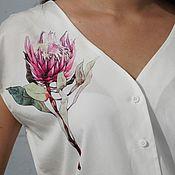 """Блузки ручной работы. Ярмарка Мастеров - ручная работа Белая блуза с авторским принтом """"Роза"""". Handmade."""