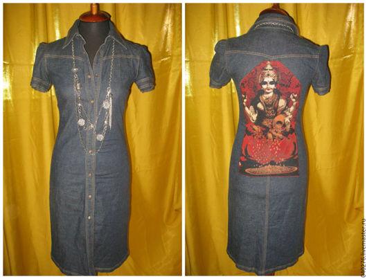 Стильное платье- халат `Индра`, Европа -Stefanel, деним- хлопок, 42-44 размер, авторский дизайн (аппликация), в идеале. Цена 3300 рублей.