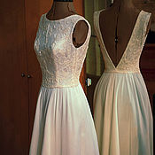Одежда handmade. Livemaster - original item Wedding long dress with back cutout