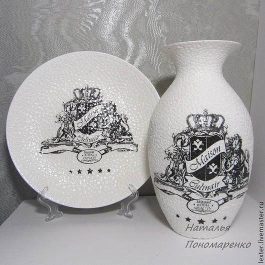 Вазы ручной работы. Ярмарка Мастеров - ручная работа. Купить Вазы ручной работы. Стеклянная ваза  Монохром. Handmade.