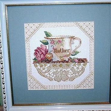 """Картины и панно ручной работы. Ярмарка Мастеров - ручная работа """"Мамина чашка"""" картина ручной работы (вышивка). Handmade."""