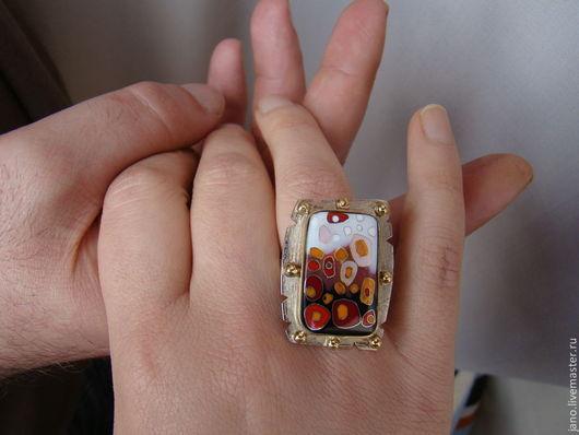 """Кольца ручной работы. Ярмарка Мастеров - ручная работа. Купить Авторское кольцо """"Мозаика"""". Handmade. Разноцветный, оригинальное украшение, латунь"""