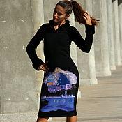 """Одежда handmade. Livemaster - original item Чёрное вязаное платье приталенного силуэта """"Ночная гроза"""". Handmade."""