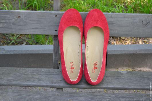 Обувь ручной работы. Ярмарка Мастеров - ручная работа. Купить Туфли лодочка. Handmade. Ярко-красный, натуральная кожа
